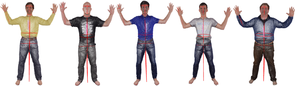 Extracted anthropometric measurements for five exemplary human body scans (Wasenmüller et al., 3DBST 2015)