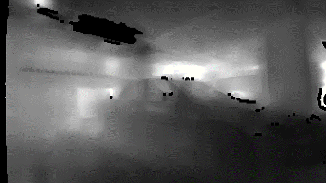 The color image of the rear-view camera is replaced by a depth image, in which every pixel states the distance to the scene.