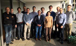 DAKARA Kick-Off at AMS in Nürnberg. Persons (l.t.r.): Stephan Voltz (AMS), Yuriy Anisimov (DFKI), Benjamin Klimczak (CanControls), Christoph Schiferle (Bosch Rexroth), Alwin Tuschmann (AMS), Oliver Wasenmüller (DFKI), Florian Baumann (ADASENS), Didier Stricker (DFKI), Ariadna Bartra (ADASENS), Martin Geist (Bosch Rexroth), Matthias Möller (Bosch Rexroth), Patrick Bertram (DFKI), Fabian Quint (DFKI)