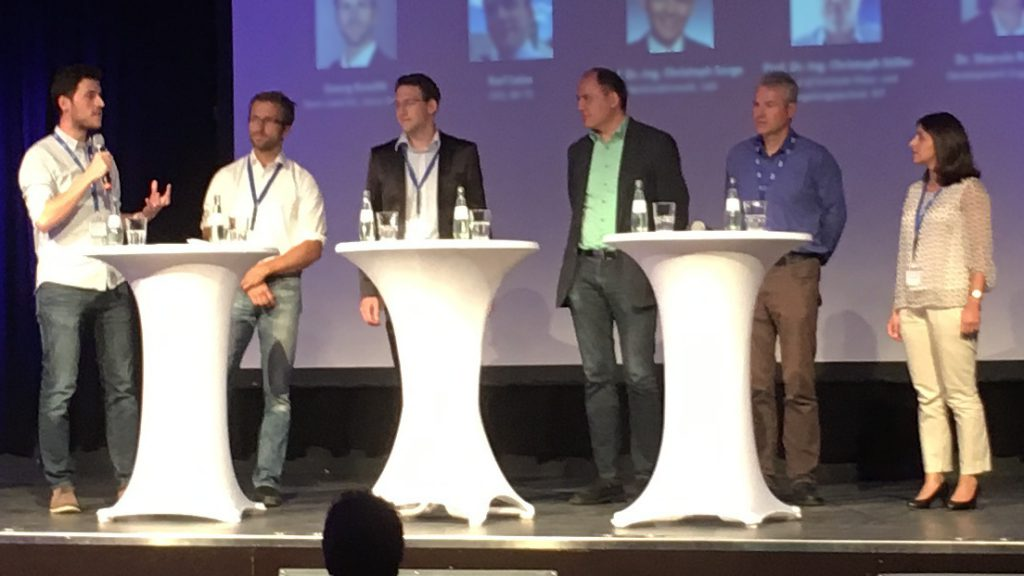 CSCS panel discussion: Dr. Oliver Wasenmüller (Team Leader Machine Vision, DFKI), Georg Kuschk (Team Leader Machine Learning, Astyx), Karl Leiss (CEO, BIT-TS), Prof. Dr. Christoph Sorge (Professor Legal Informatics, UdS), Prof. Dr. Christoph Stiller (Director Institute MRT, KIT), Dr. Shervin Raafatnia (AI Validation Engineer, Bosch).